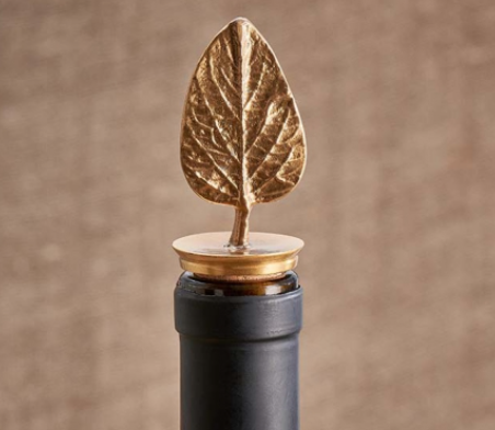 Leaf Brass Bottle Stopper