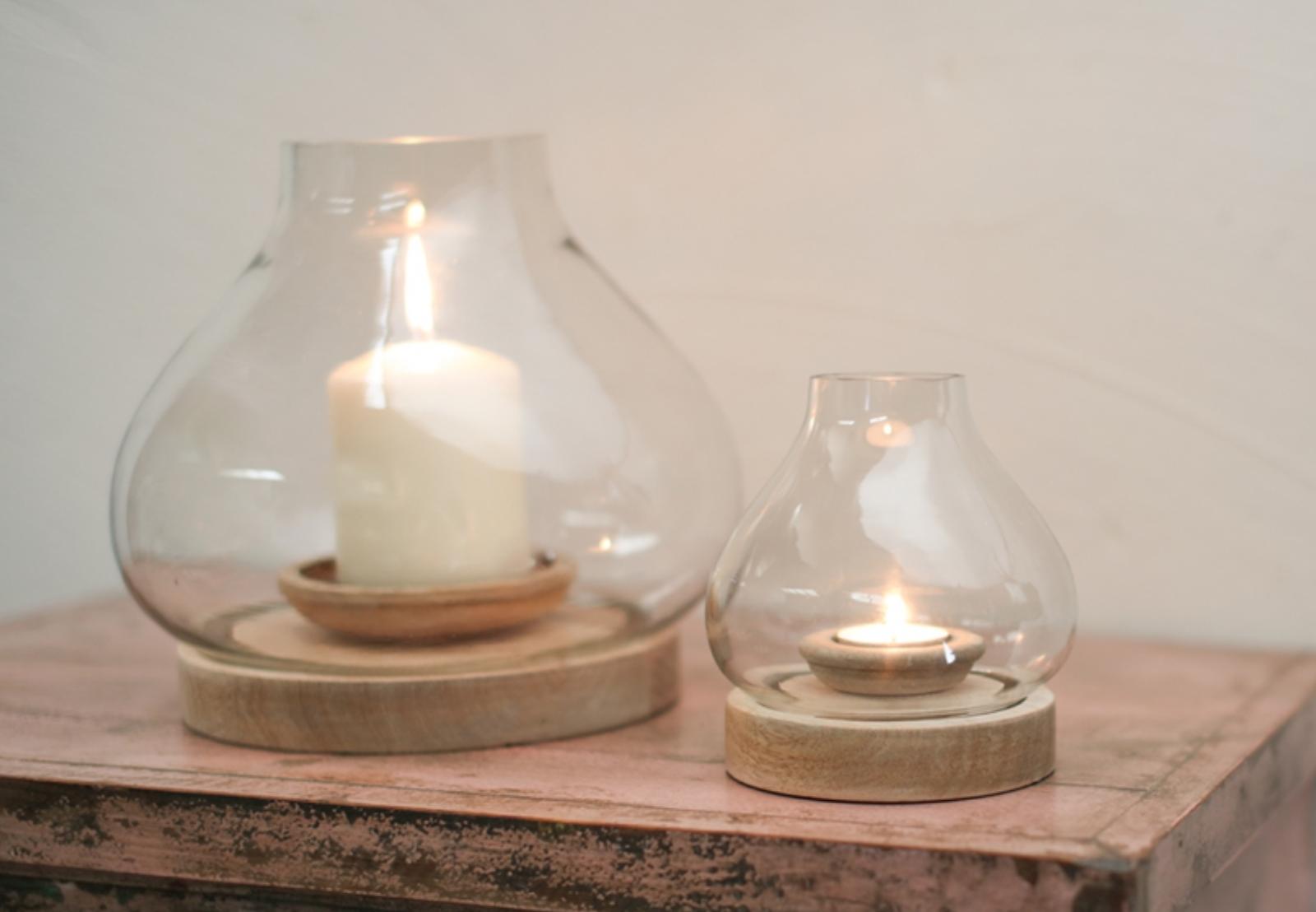 Naryla Lantern - Mango Wood & Glass