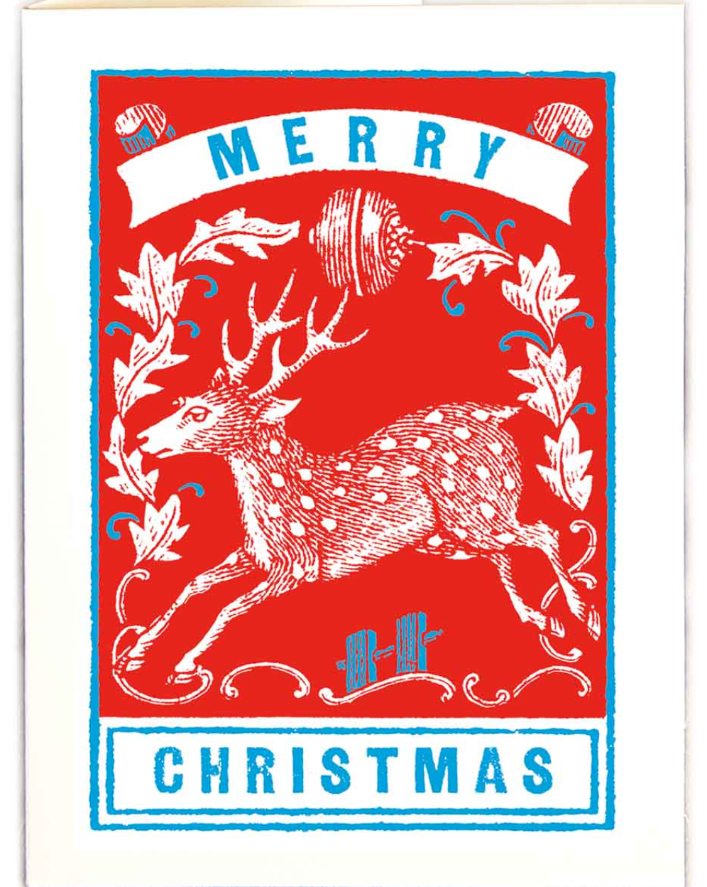 Red Stag Letterpress Christmas Card
