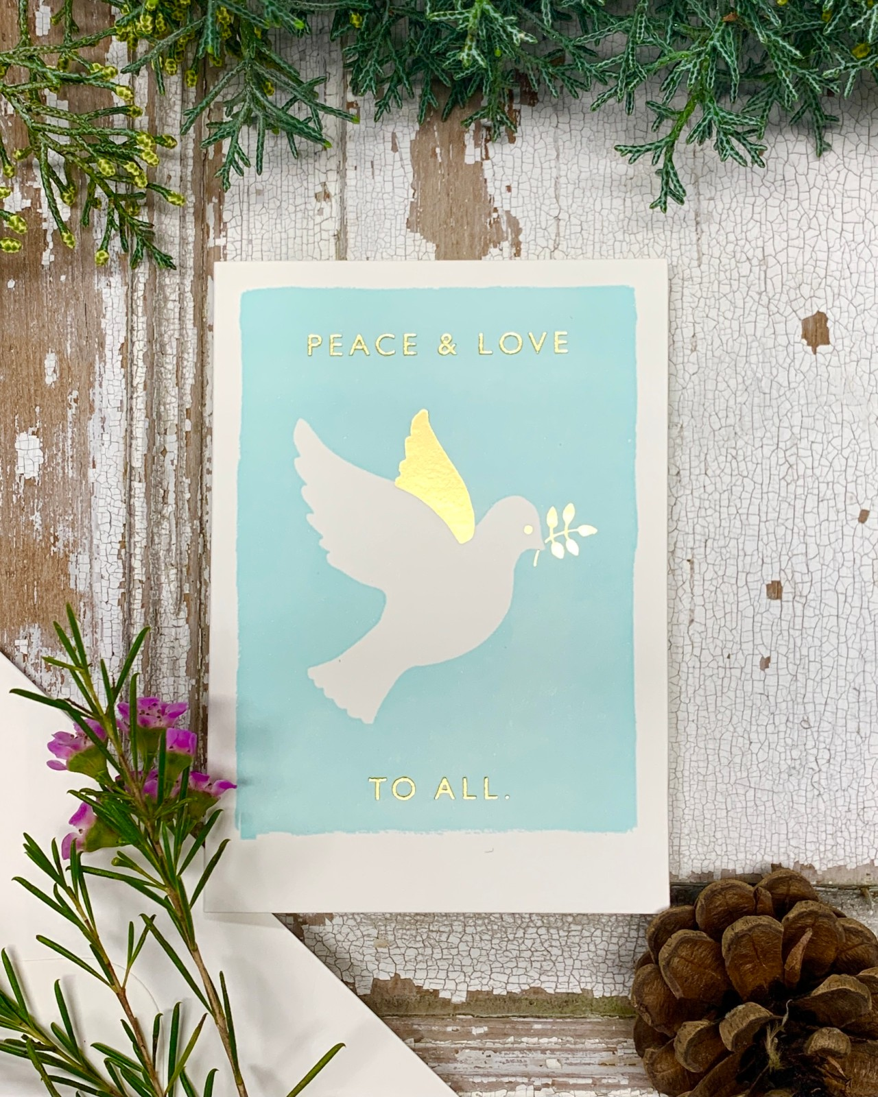 Peace & Love - Letterpress Christmas Card